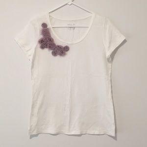 White Tee Shirt with Purple Flowes